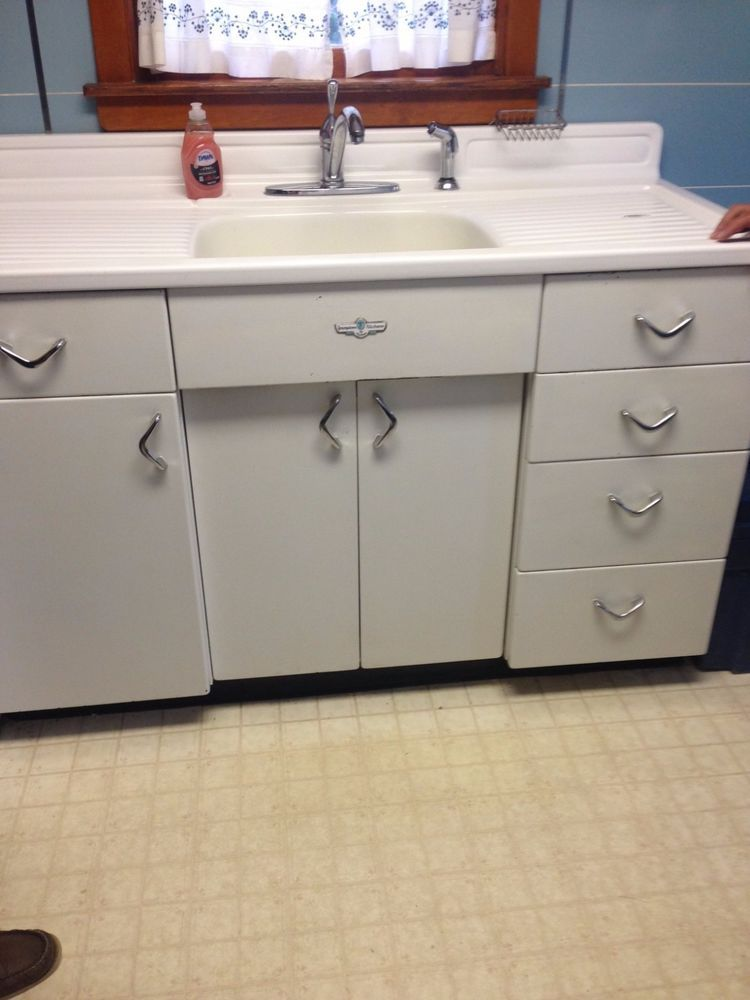 VINTAGE YOUNGSTOWN Kitchen by Mullins Metal Sink Cabinet with .