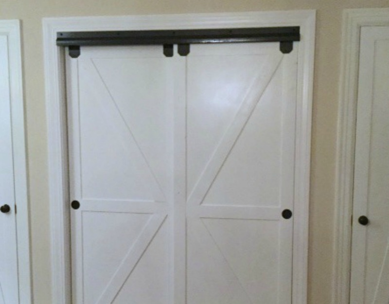 Remodelaholic   How to Make Bypass Closet Doors Into Sliding Faux .