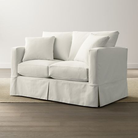 Slipcover Only for Willow Modern Slipcovered Loveseat | Crate and .