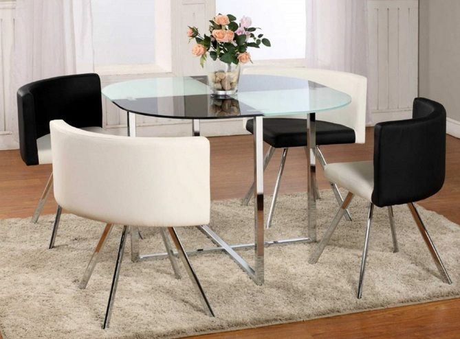 Glass top dining table ideas for small spaces with stainless steel .