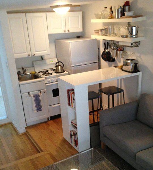 Smart Solutions for Small Cool Kitchens | Small apartment kitchen .