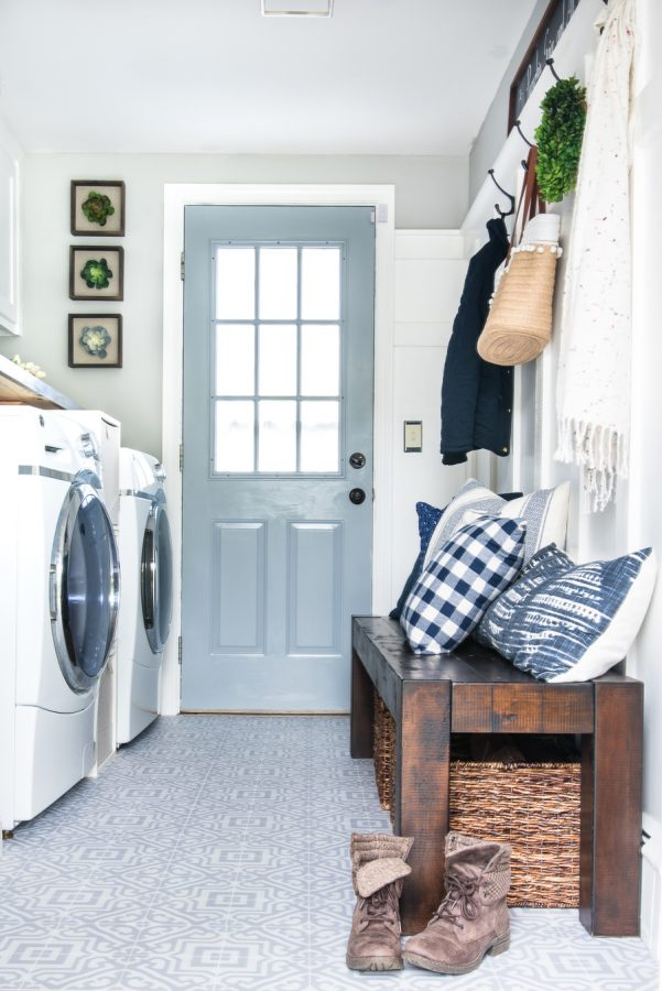 blue door in laundry room with bench small-laundry-room-ideas .