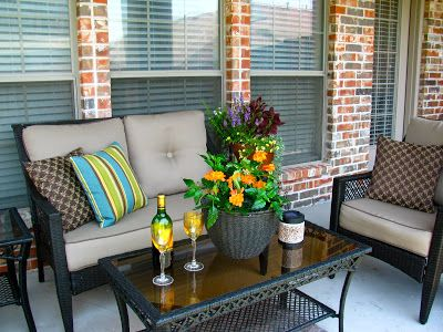 Small Patio Ideas On A Budget | After : New patio furniture .