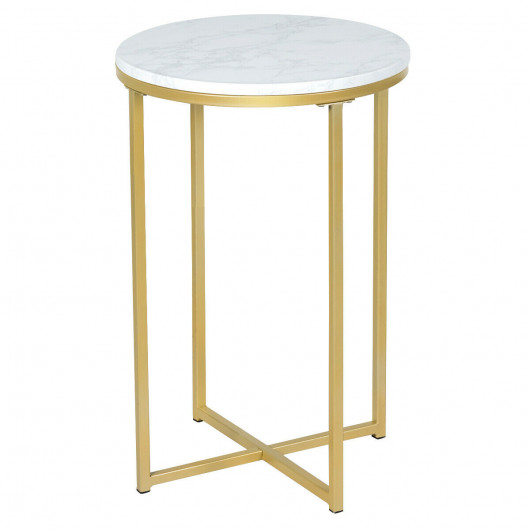 X-Shaped Marble Top Small Round Side Table End Table - End Tables .