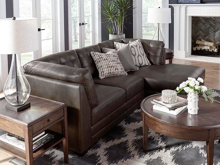 Popular Small Chaise Leather Sectional - Espresso | Affini