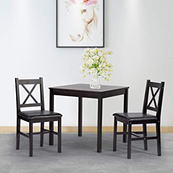 Amazon.com - FDW Dining Kitchen Table Dining Set 3 Piece Wood in .