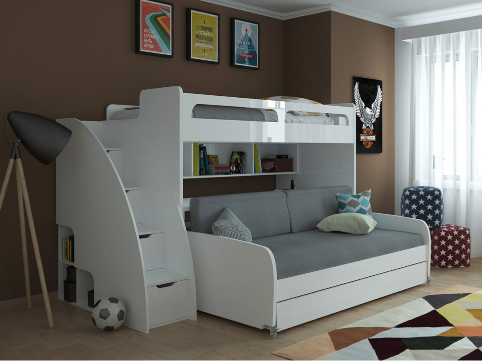 Twin over Twin XL Bunk Bed with Sofa, Desk and Trundle-Bel Mon