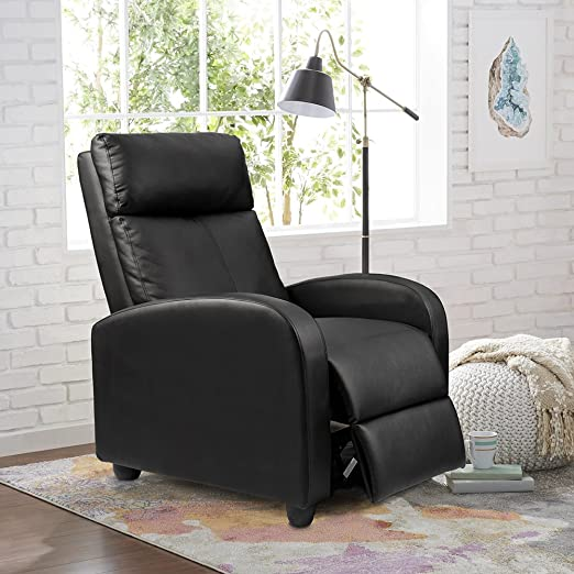 Amazon.com: Homall Recliner Chair Padded Seat PU Leather for .