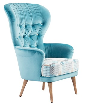 Single High Back Wing Sofa Chair With Armrest French Style Fabric .