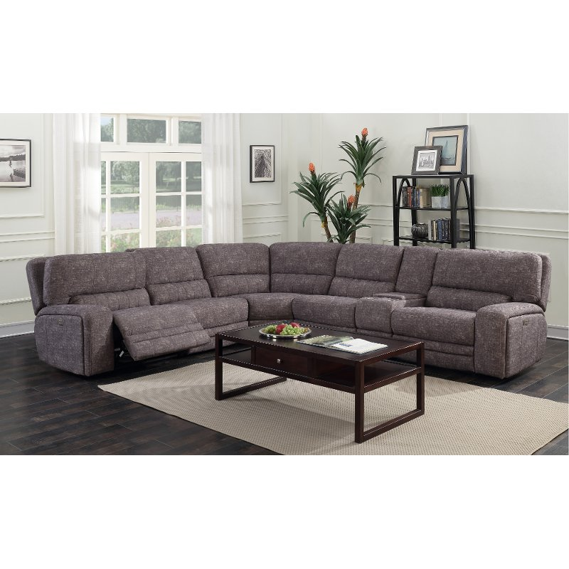 Gray Tailored 6 Piece Power Reclining Sectional Sofa - Rock Quarry .