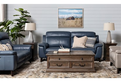 Moana Blue Leather Dual Power Reclining Sofa With Usb | Living Spac