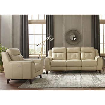 Campania 2-piece Leather Power Reclining Set with Power Headrests .