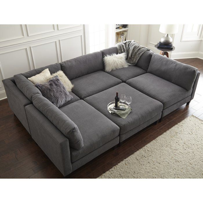 """Chelsea 120"""" Symmetrical Modular Sectional with Ottoman ."""