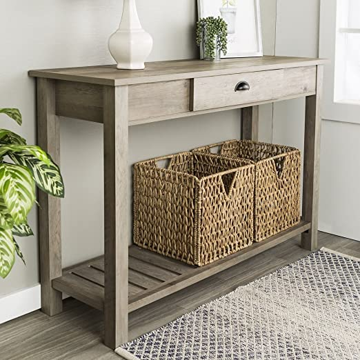 Amazon.com: New 48 Inch Wide Country Style Sofa Table in Gray Wash .