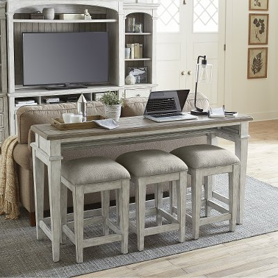 Weathered Oak Sofa Table with 3 Stools - Heartland | RC Willey .