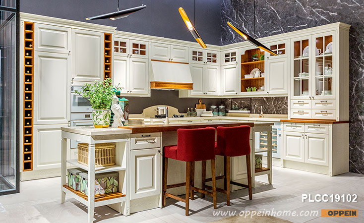 White L-Shape Solid Wood Kitchen Cabinet With Island PLCC19102 .