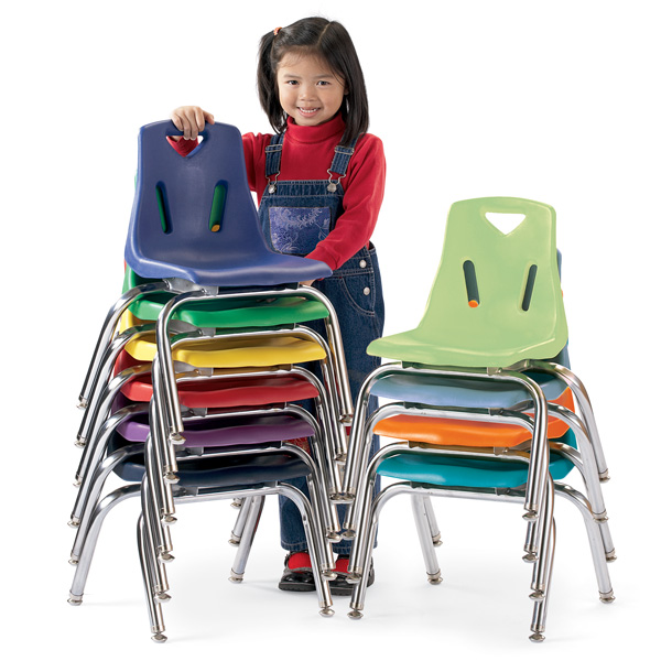 """Berries® Stacking Chair with Chrome-Plated Legs - 10"""" Ht - Blue ."""