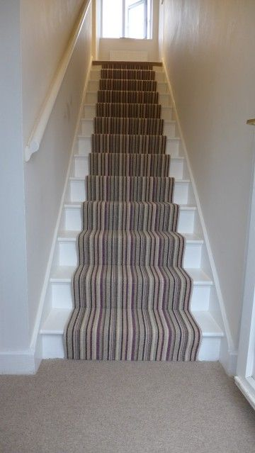 Halls, Stairs and Landings | Striped carpet stairs, Stair runner .