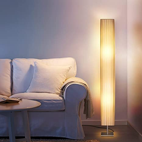 Albrillo Fabric Floor Lamp, Modern Asian Style Standing Lamps with .