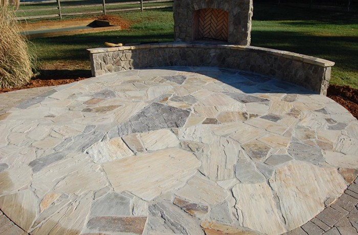 Patio Stone Floor with Fireplace - Water Saver Irrigation .