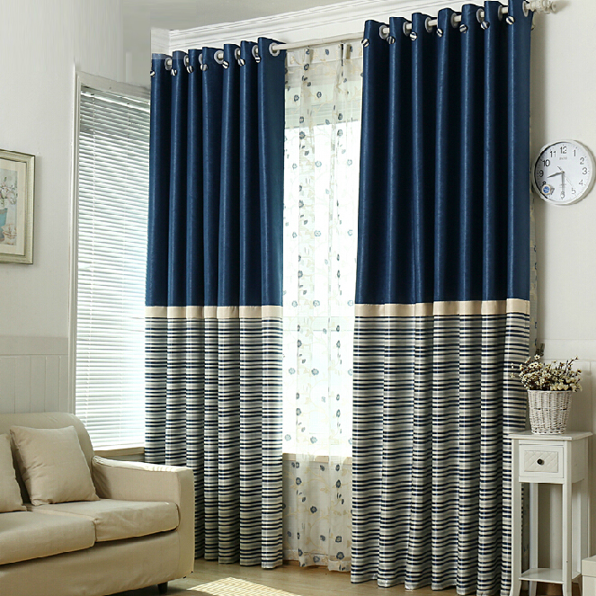 Simple Navy Polyester Blackout Striped Curtai