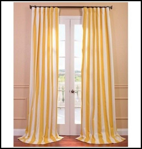 Yellow And White Vertical Striped Curtains | Half price drapes .