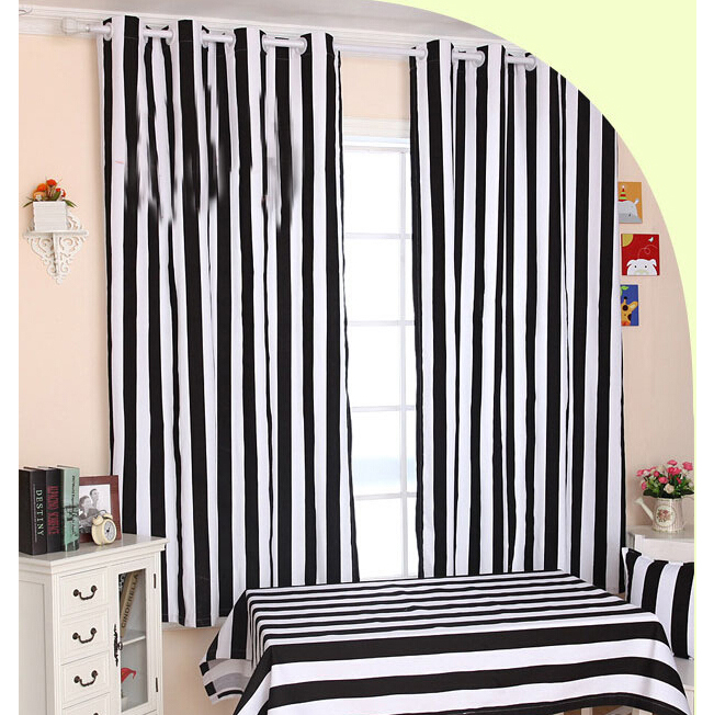 Funky Black And White Striped Curtains Of Cotton Fabr