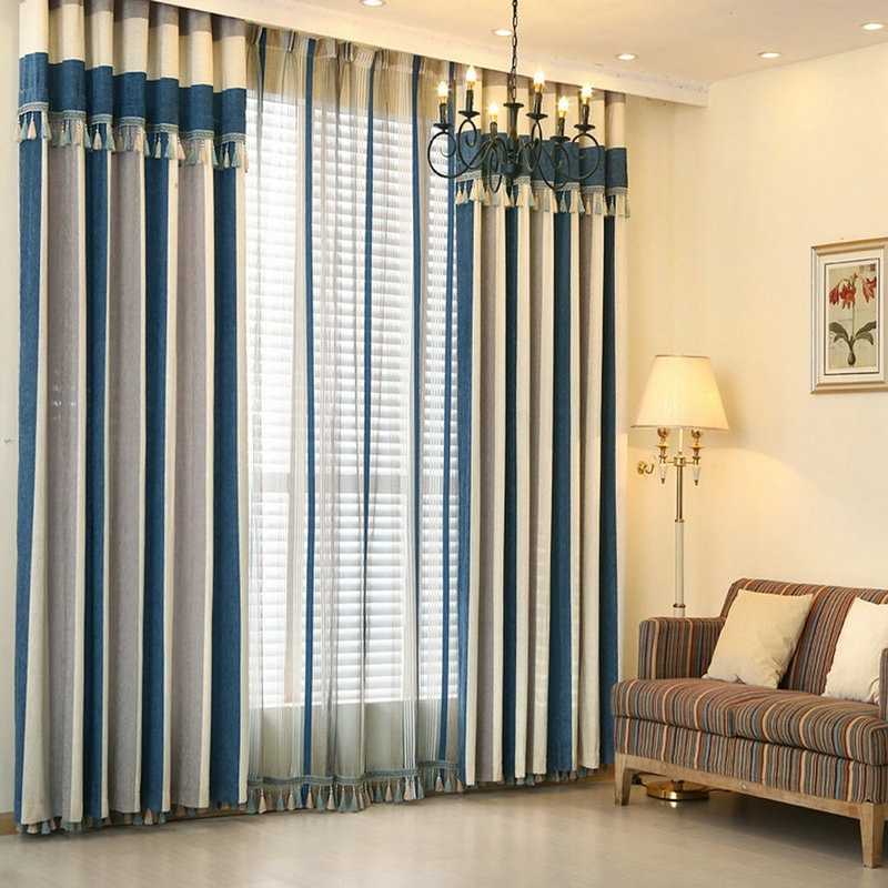 Modern Vertical Striped Curtains with Top Valance Fringes Printing .