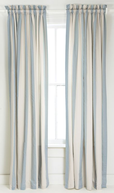 Blue and White Vertical Striped Curtain/Drape. (With images .