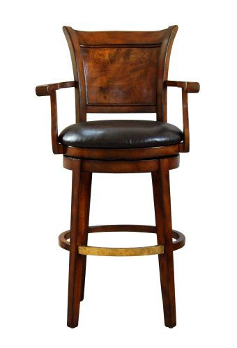 Swivel Bar Stool with Top Grain Leather Seat by Global .