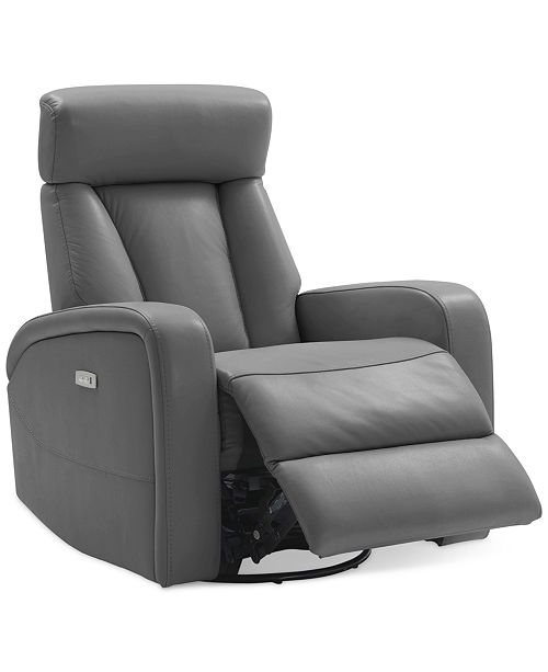 Furniture Dasia Leather Swivel Rocker Power Recliner with .