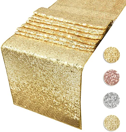 Amazon.com: Sequin Table Runners Gold- 12 By 108 Inch Glitter Gold .