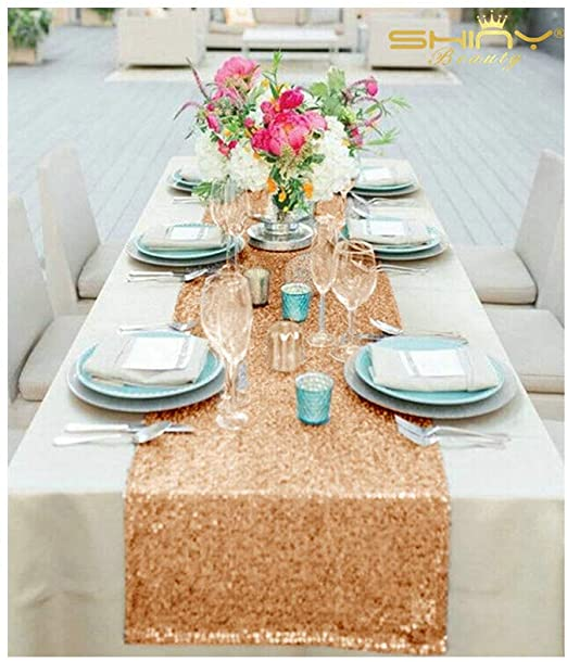 Amazon.com: 12''x72'' Rose Gold Sequin Table Runner Sparkly .