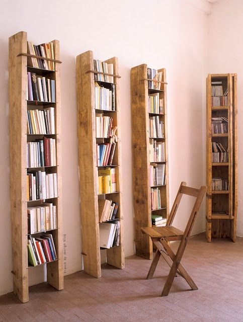 tall bookshelves for small spaces- perfect for the old ladder I .