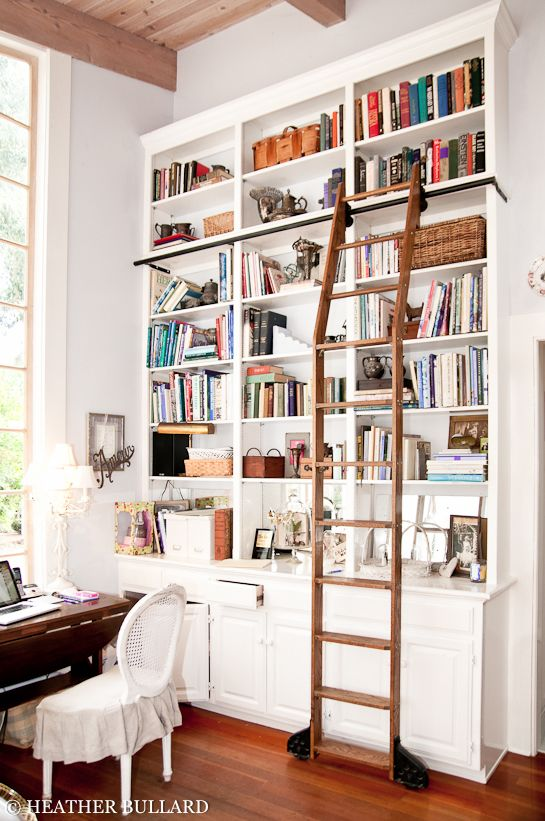 Library Bookcases with Ladders | Library ladder, Tall bookshelves .