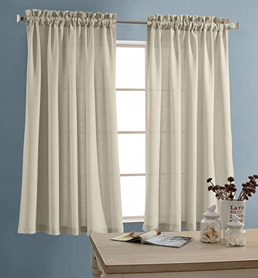 Amazon.com: jinchan Tier Curtains Semi Sheer Short Curtains .