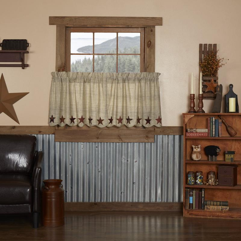 "Abilene Star Scalloped Lined Tier Curtains 24"" – Primitive Star ."