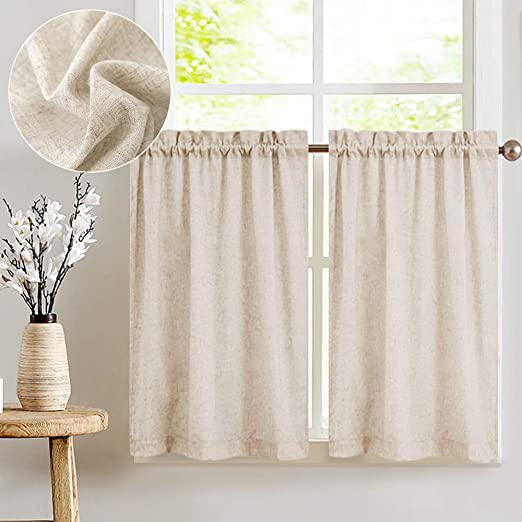Amazon.com: jinchan Tier Curtains Linen Textured 24 Inches Long .