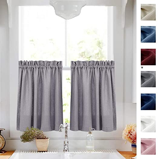 Amazon.com: Tier Curtains Semi Sheer Short Curtains Kitchen Casual .