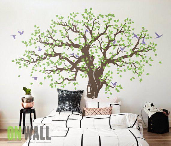 Large Family Tree Wall Decal, Nursery Tree Wall Decals, Tree mural .