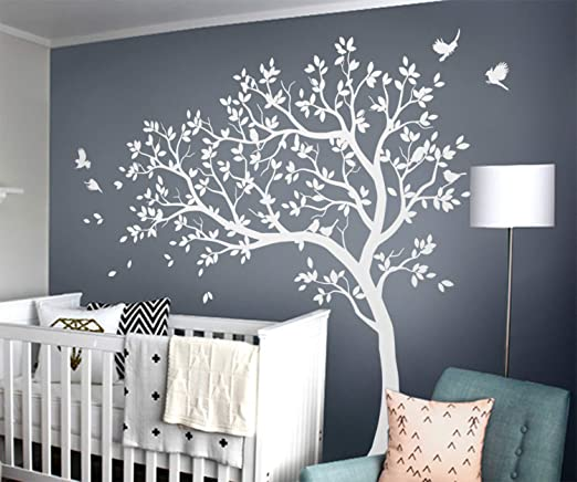 Amazon.com: Studio Quee White Tree Wall Decals Large Nursery Tree .