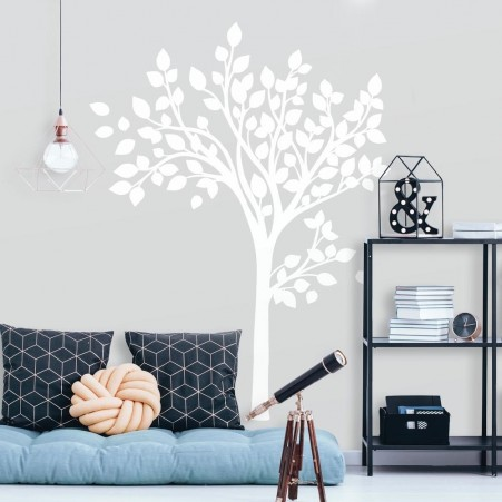Simple White Tree Peel and Stick Giant Wall Decals | RoomMat