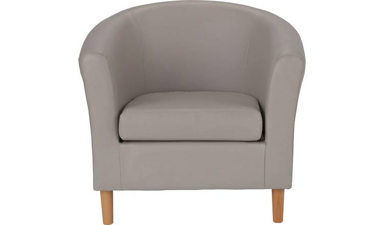 Buy Argos Home Faux Leather Tub Chair - Mocha   Armchairs and .