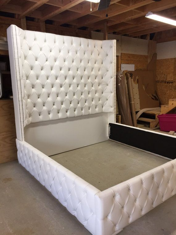 White King Size Tufted Bed Luxurious Wingback Tufted Bed White Bed .