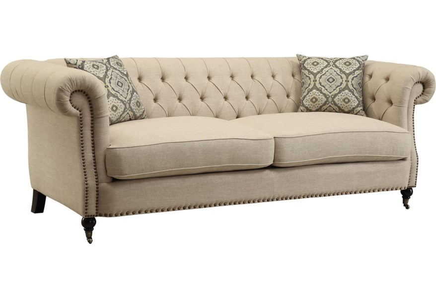 Coaster Trivellato Traditional Button Tufted Sofa with Large .