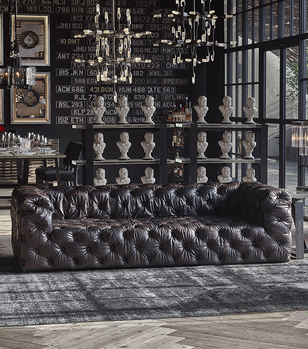 Leather & Linen Sofa - Tribeca Tufted | Timothy Oulton | Timothy .