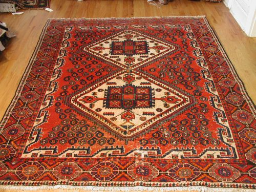 """5' 0"""" x 6' 10"""" Red and Navy Anatolia Semiantique Turkish Rug (WOO"""
