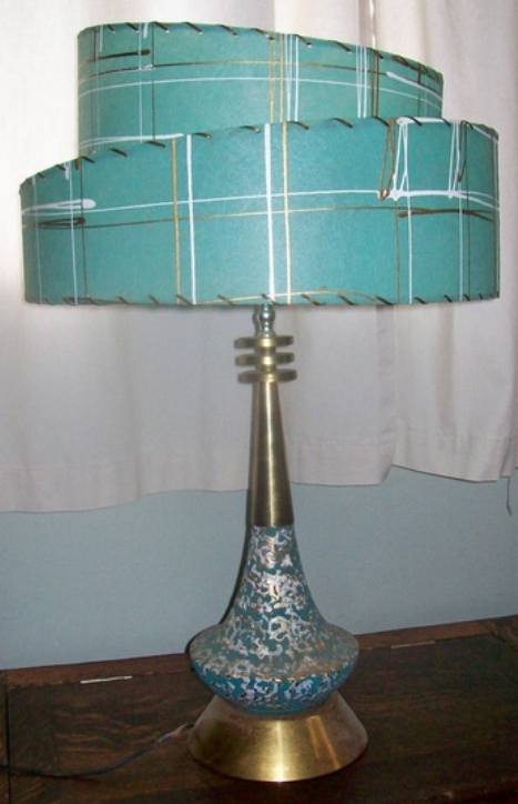 Mid century Aqua/teal/turquoise and gold table lamp with .