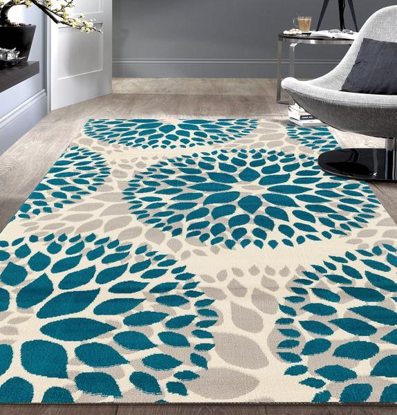 Floral Gray/Grey Turquoise Blue Area Rug – Discounted-Ru
