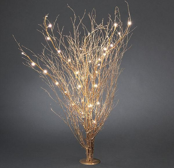 gold colored twigs with led lights/Christmas lights. Good for .